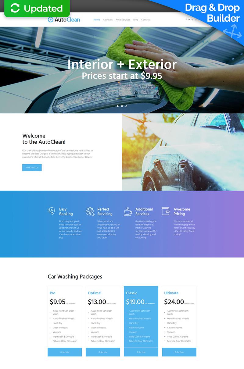Reszponzív Autómosó témakörű Moto CMS 3 sablon 64980