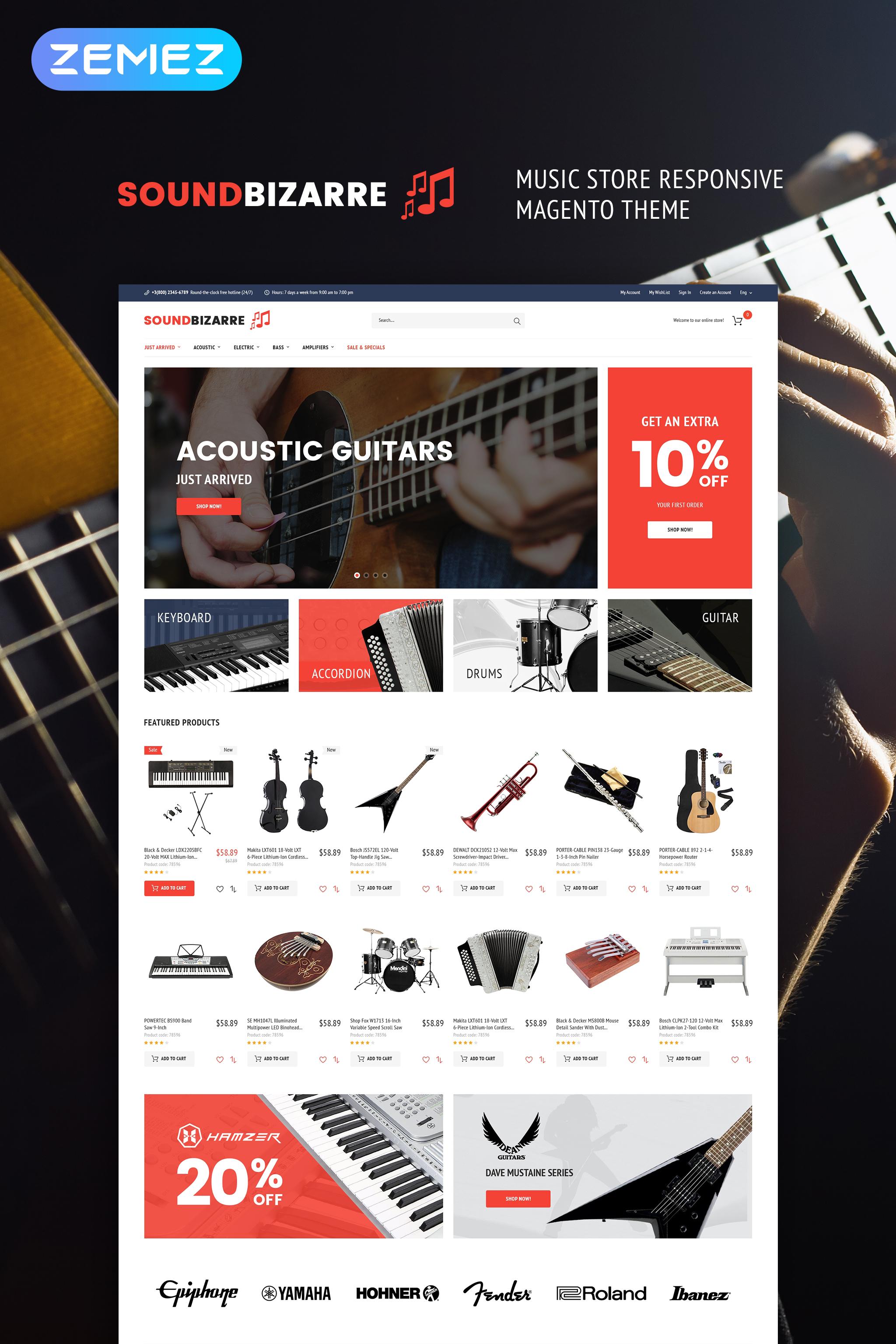 """SoundBizarre - Music Store"" - адаптивний Magento шаблон №64904"