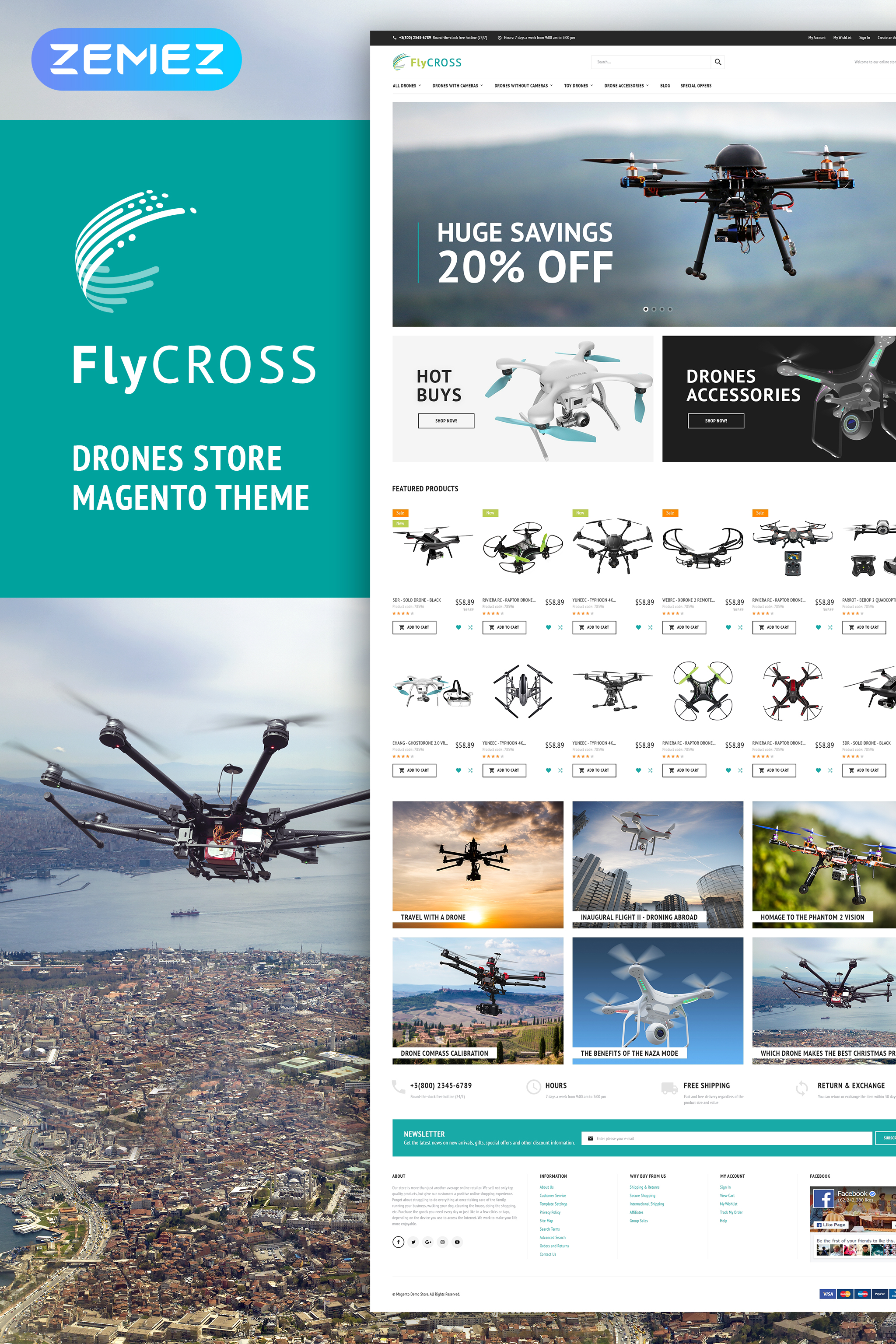 "Tema Magento #64902 ""FlyCross - Drones Store"""