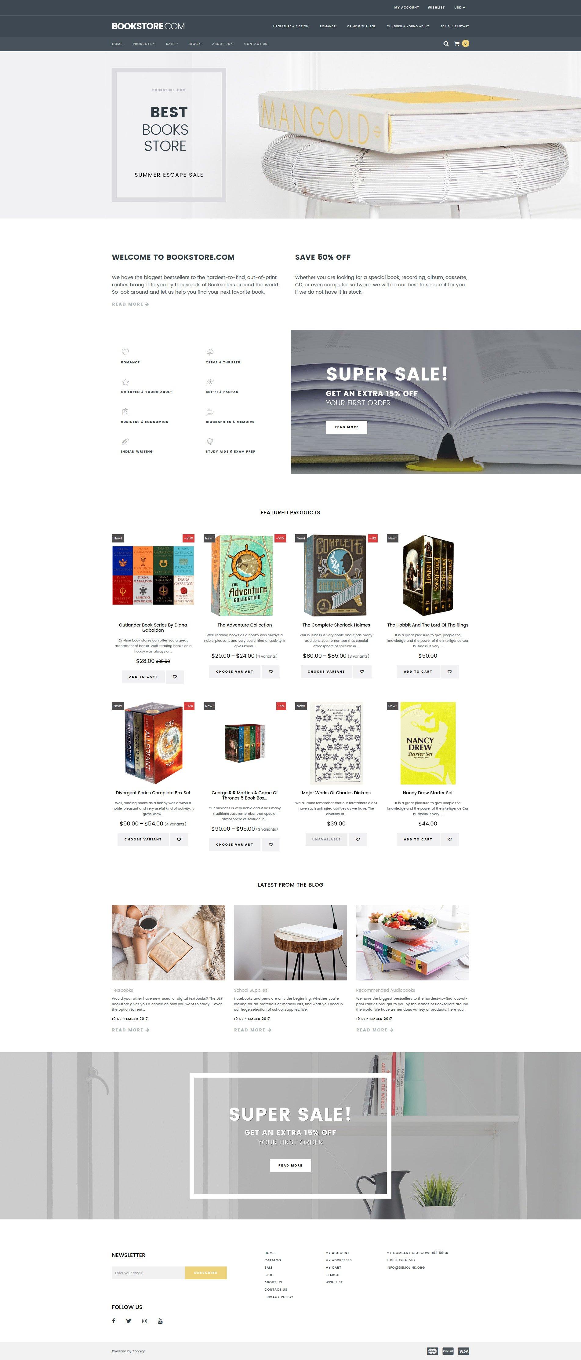 Template Shopify Responsive #64927 per Un Sito di Libri
