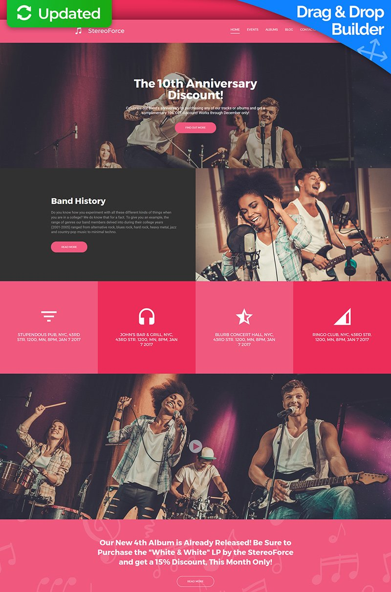 Templates Moto CMS 3 Flexível para Sites de Banda №64974