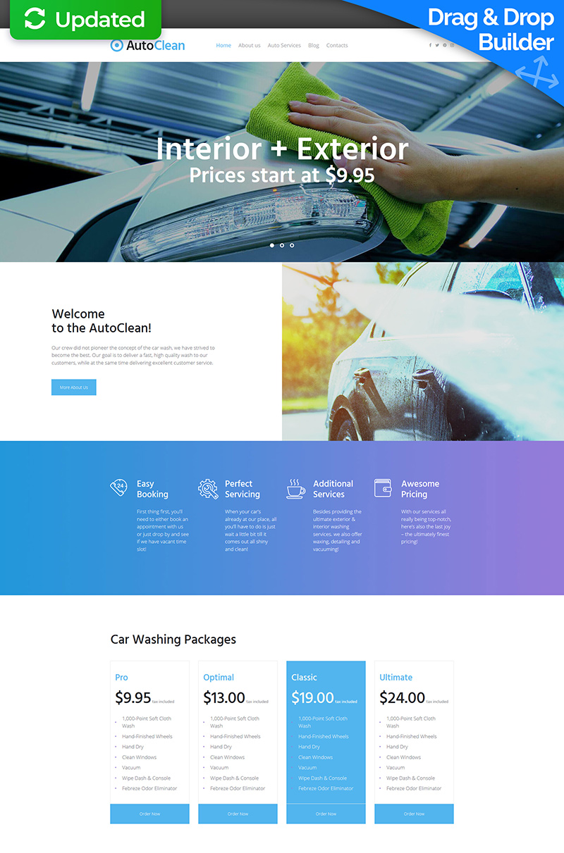 Templates Moto CMS 3 Flexível para Sites de Lava Jato №64980