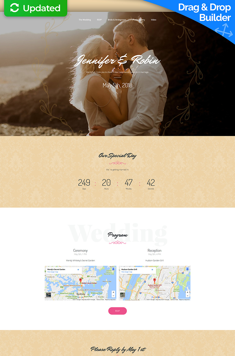Wedding Planner Responsive Landing Page Template