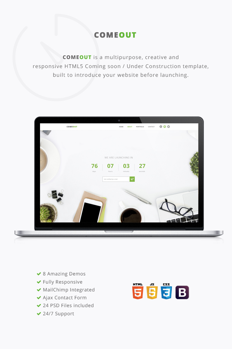 Website Design Template 65000 - business comeout coming soon corporate countdown creative fashion html mailchimp multipurpose portfolio responsive under construction video
