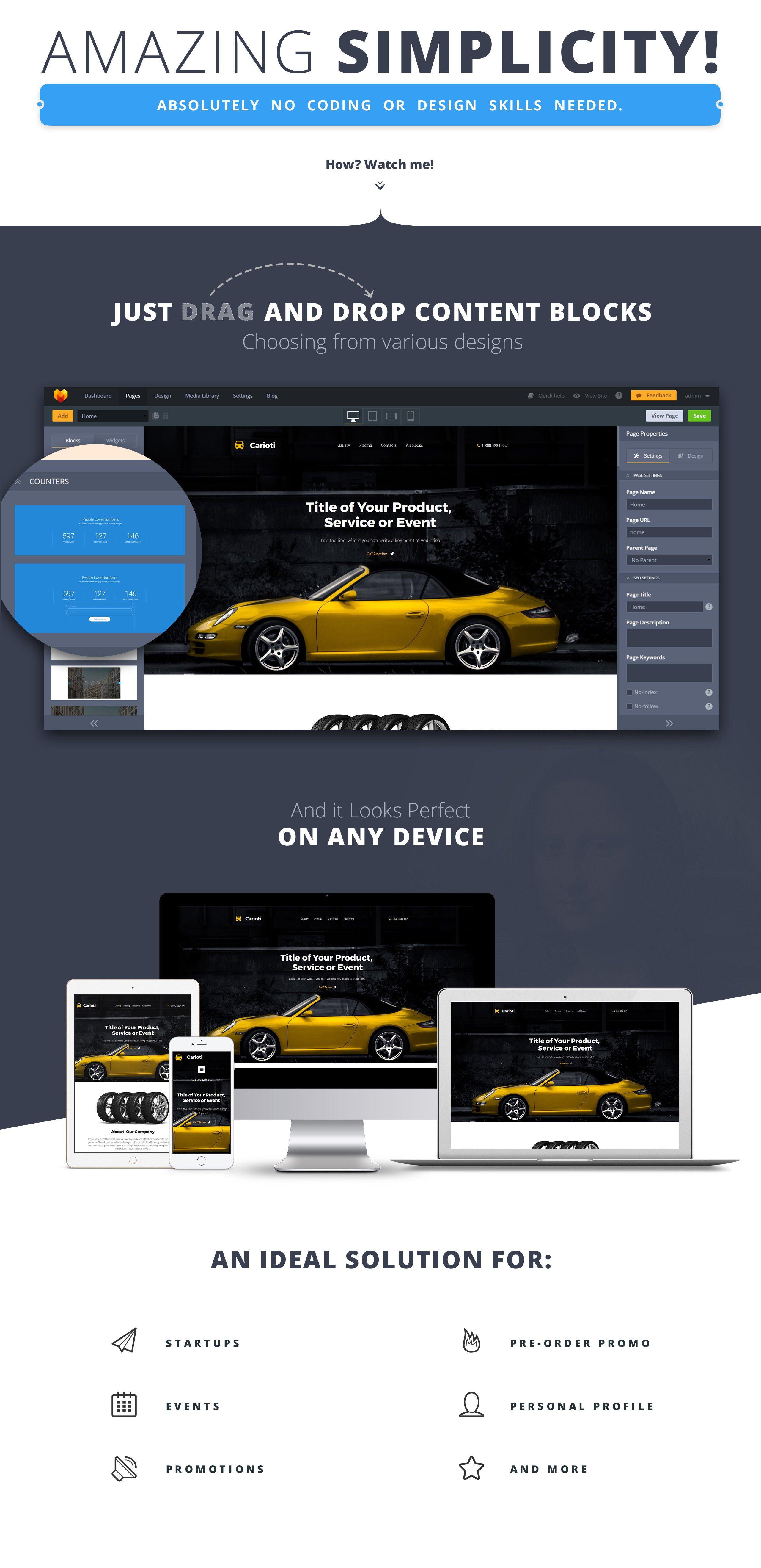 Carioti MotoCMS 3 Landing Page Template