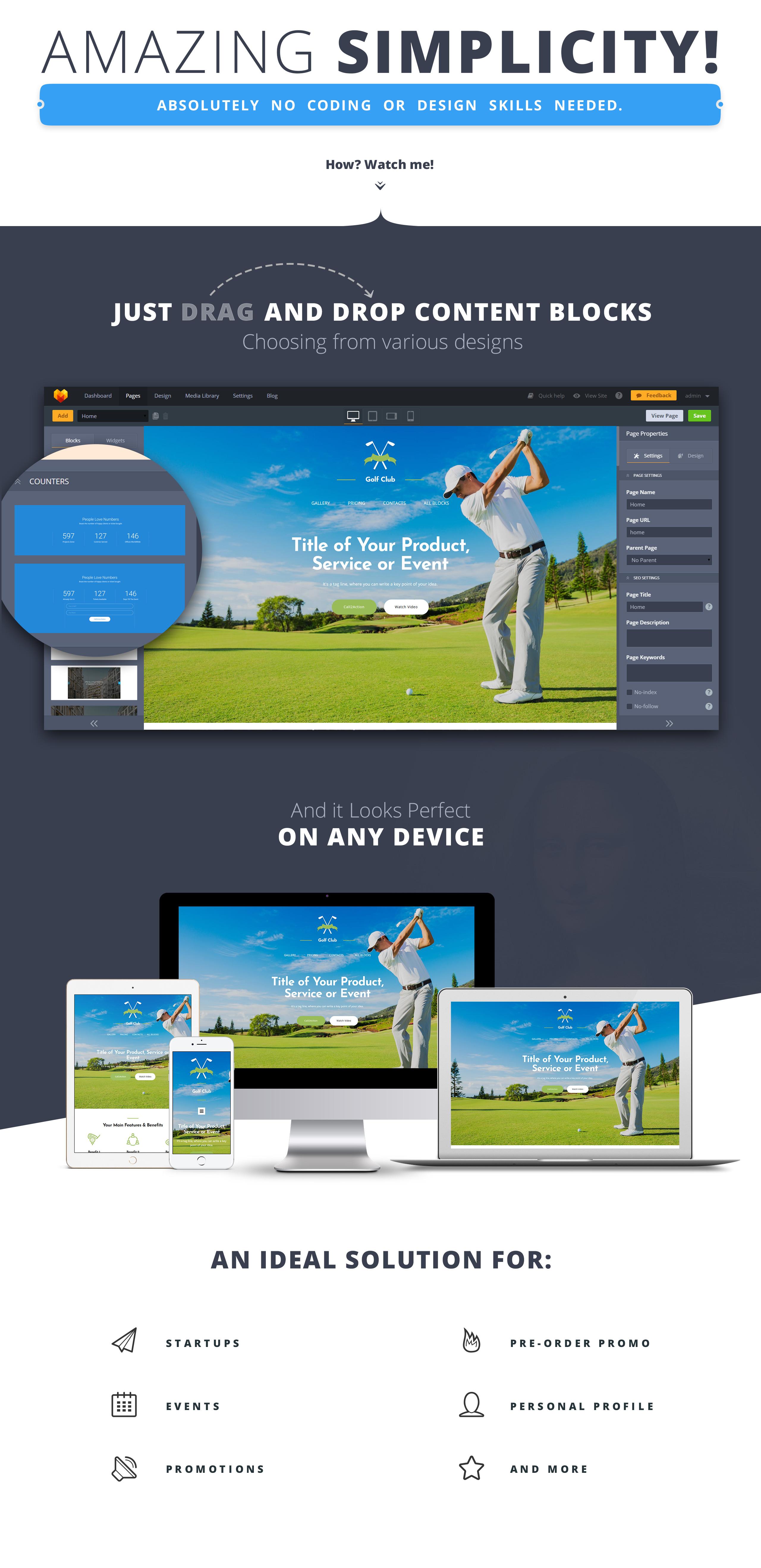 Golf Club MotoCMS 3 Landing Page Template