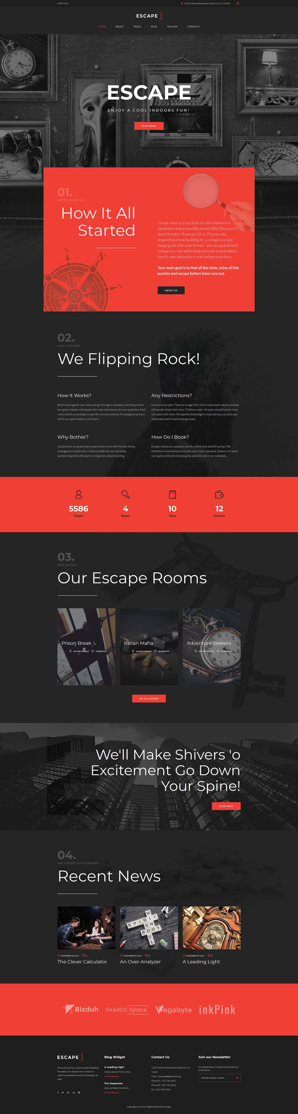 Escape - Escape Room Joomla Template