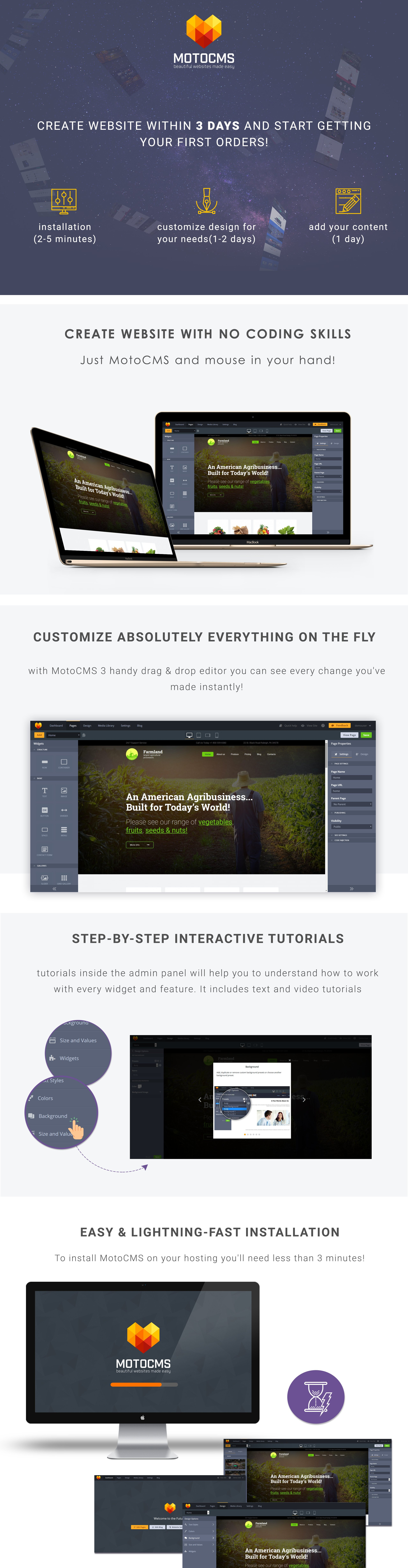 Agriculture Responsive Moto CMS 3 Template