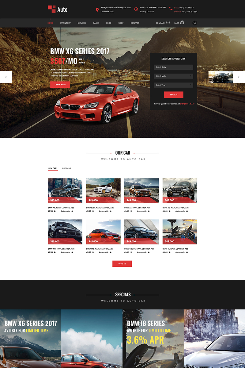 """AUTO – Modern Car Rental Service"" PSD Template №65005"