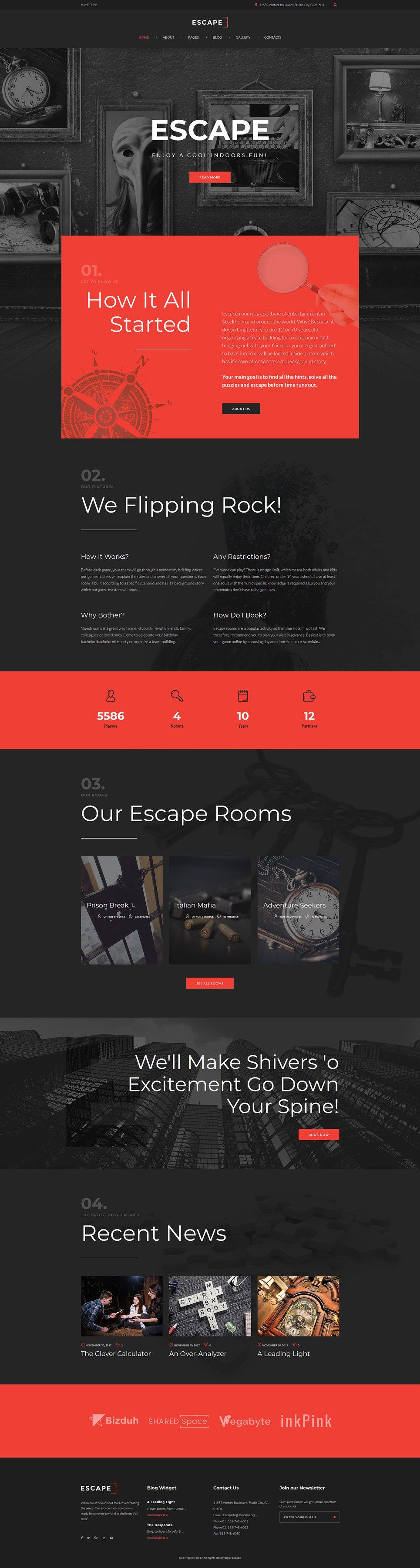 Escape Room WordPress Template