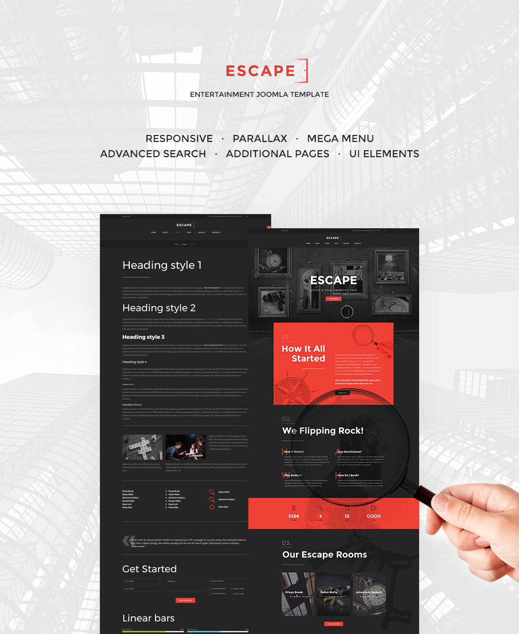 Escape - Escape Room Joomla Template - screenshot