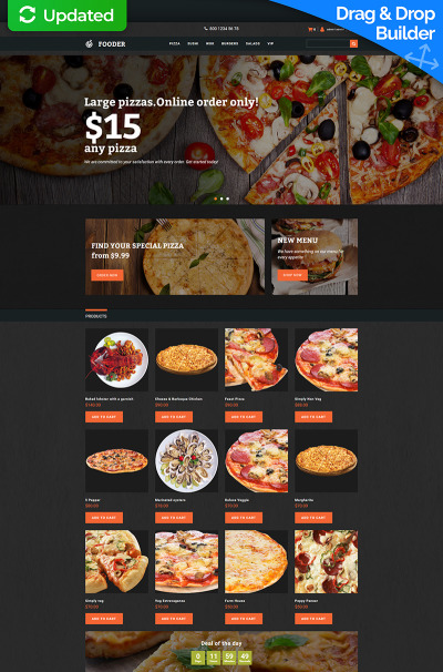 Modèle MotoCMS Pour Commerce électronique adaptatif  pour pizzeria