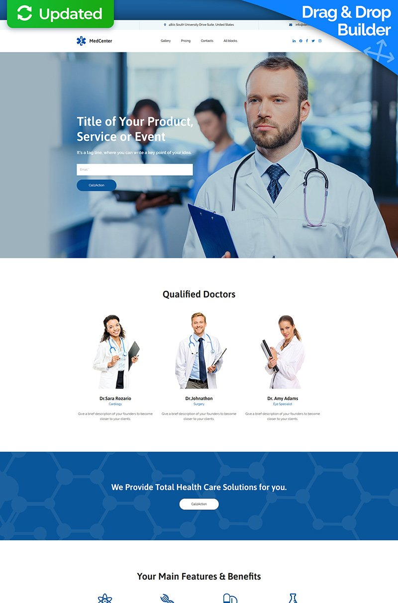 MedCenter MotoCMS 3 Landing Page Template - screenshot