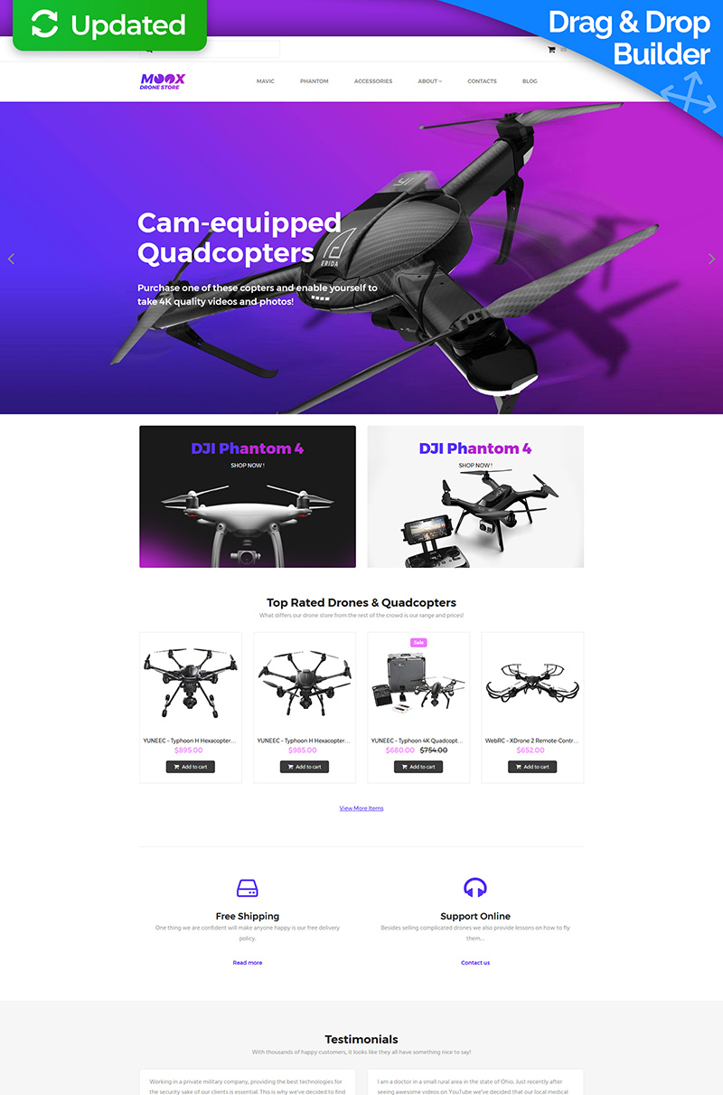 Moox - Drone Store MotoCMS Ecommerce Template - screenshot