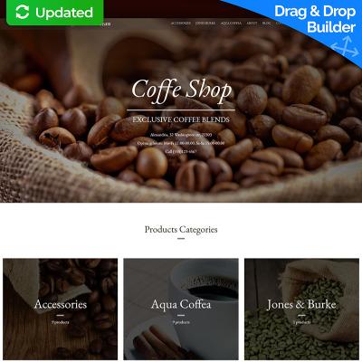 Responsive MotoCMS E-Commerce Vorlage für Kaffeeshop