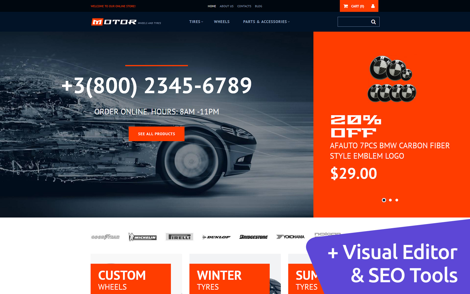 """Motor Wheels & Tires"" Responsive MotoCMS Ecommercie Template №65057"