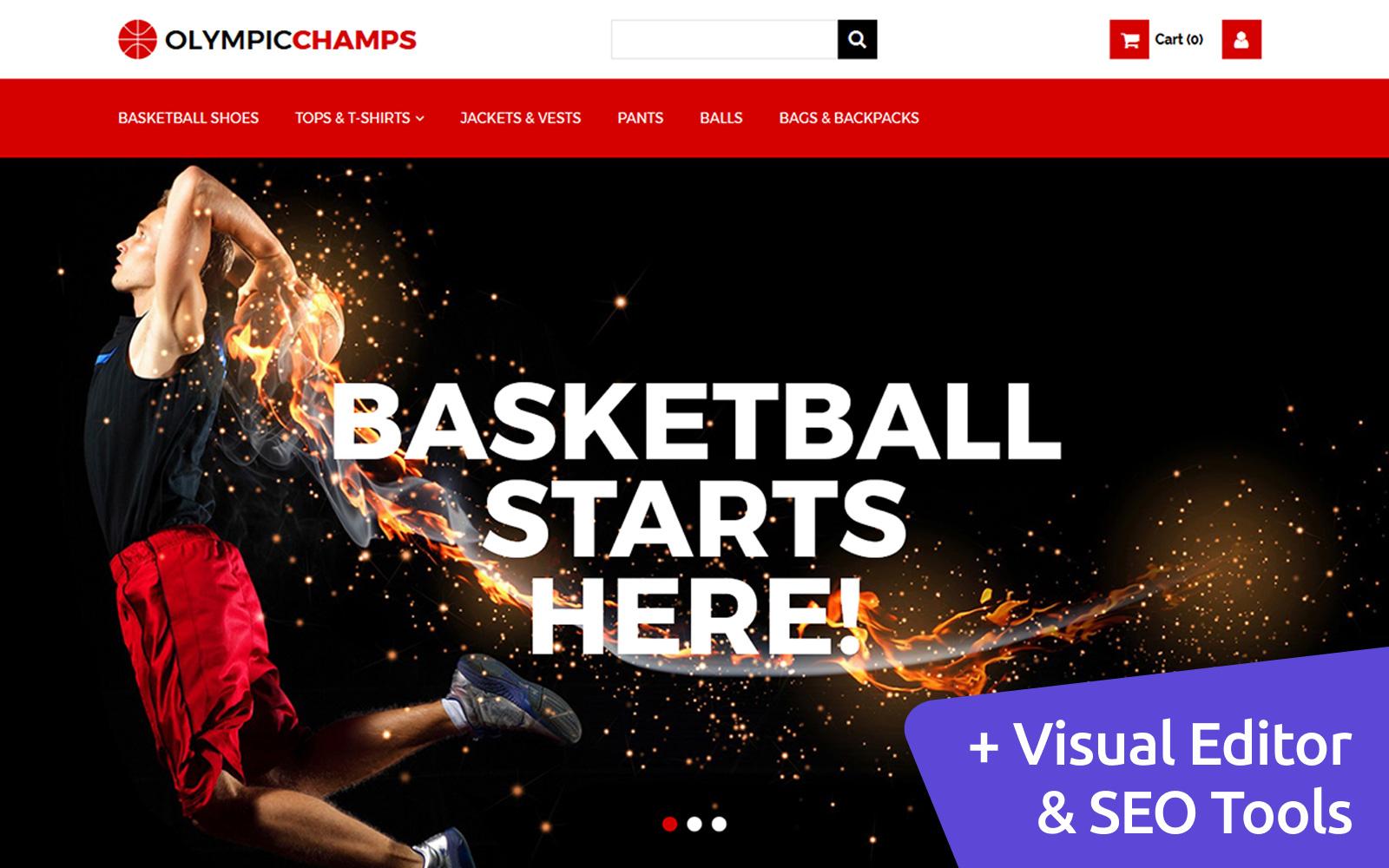 """""""OlympicChamps - Basketball"""" modèle MotoCMS pour commerce électronique adaptatif #65069"""