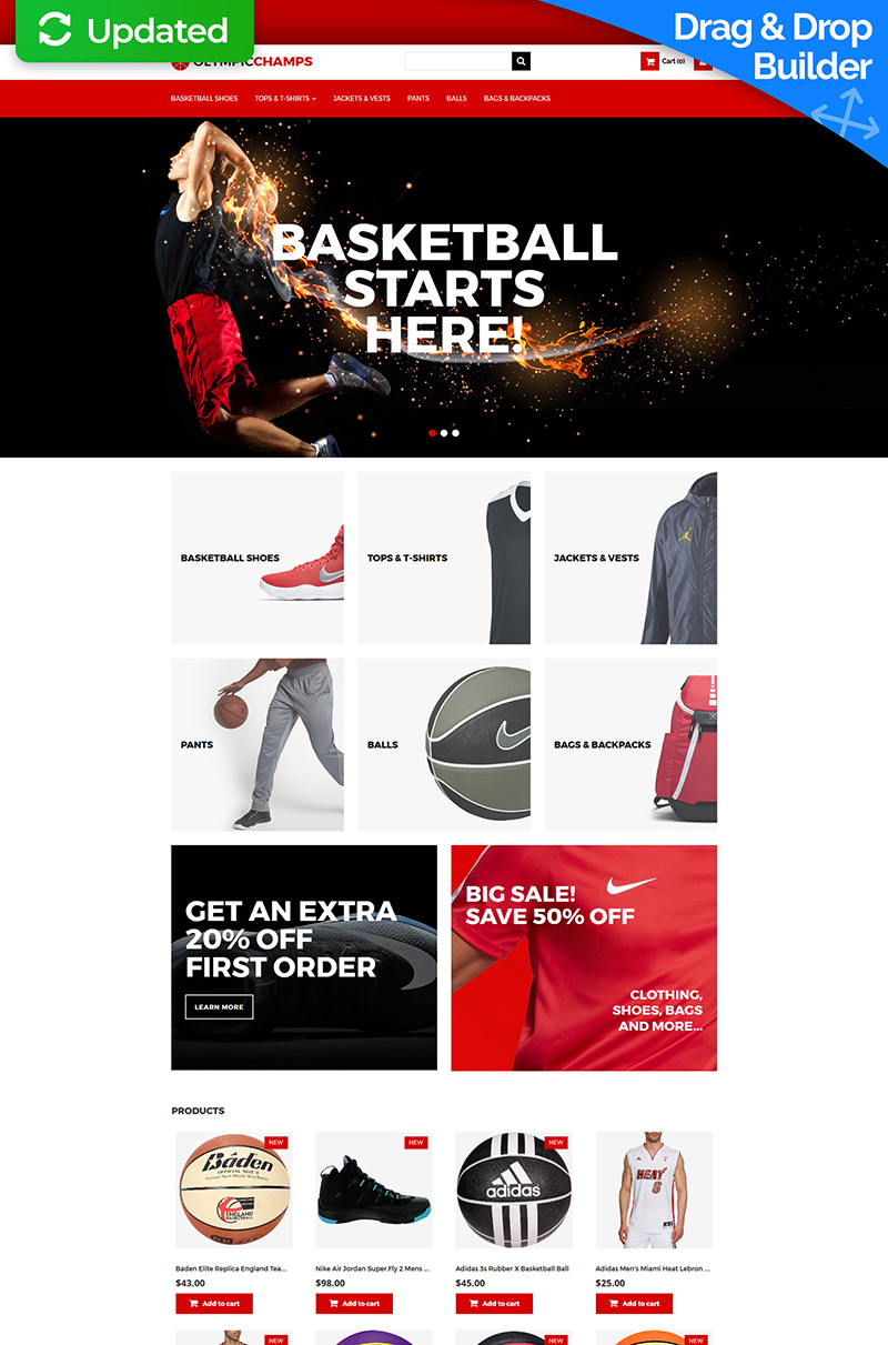 OlympicChamps - Basketball MotoCMS Ecommerce Template