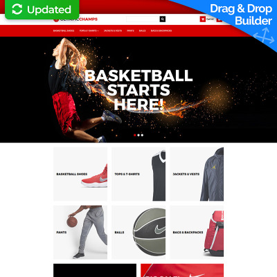 Flexível template Ecommerce MotoCMS  №65069 para Sites de Basquete