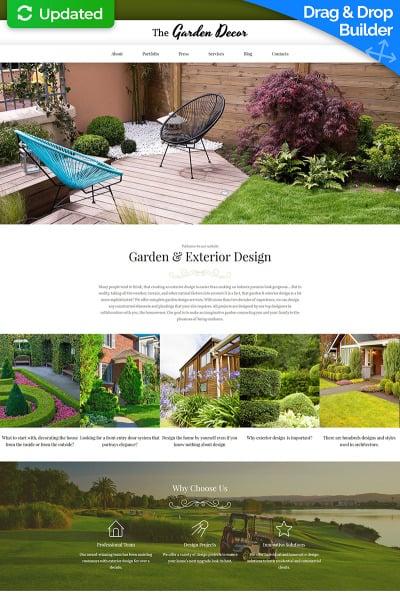Responsive Plantilla Moto CMS 3  #65084 para Sitio de  para Sitio de Diseño de jardines