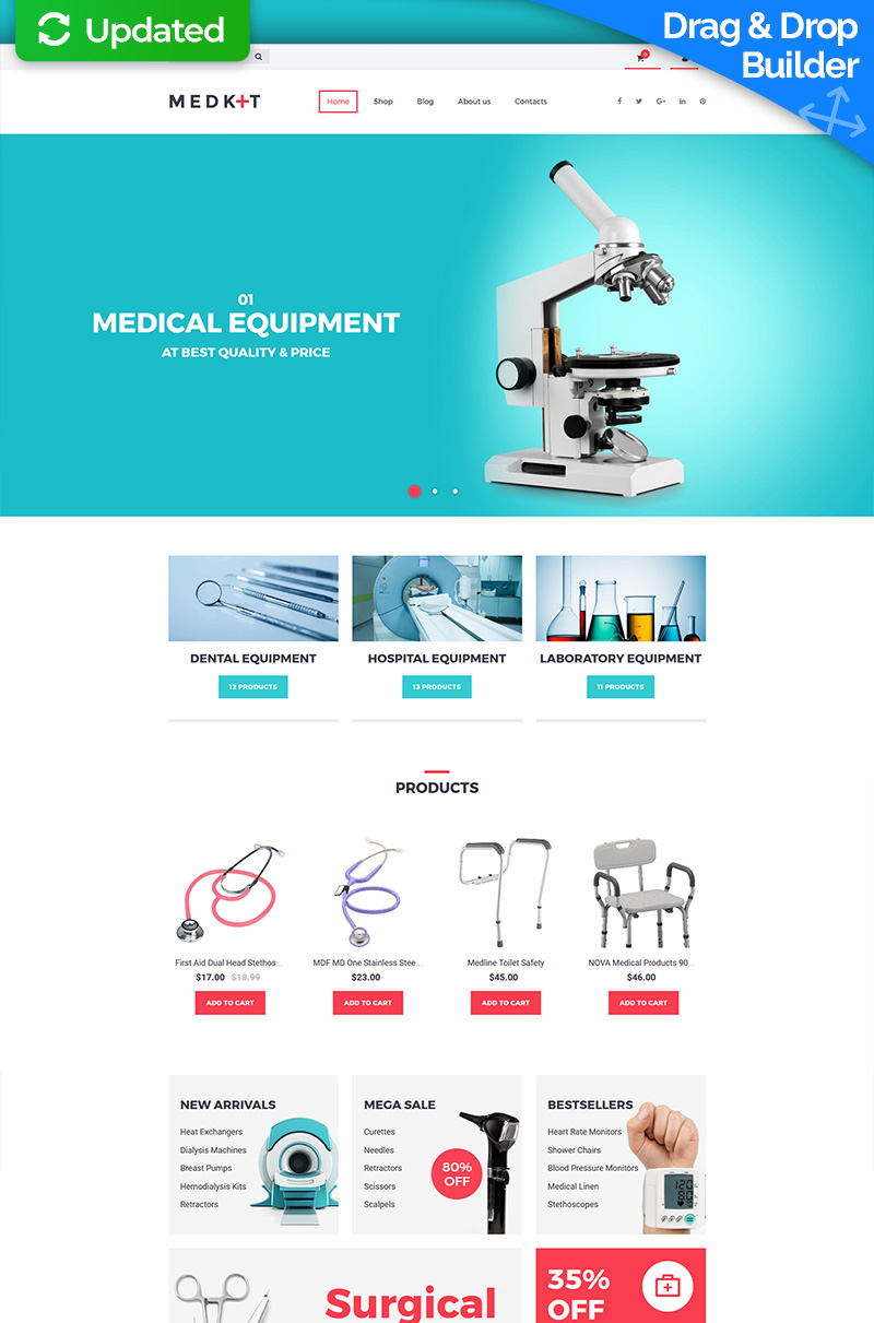 "Plantilla MotoCMS Para Comercio Electrónico ""Med Kit - Medical Equipment"" #65053 - captura de pantalla"