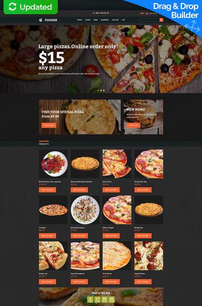 Responsive Plantilla MotoCMS Para Comercio Electrónico #65055 para Sitio de  para Sitio de Pizzerías