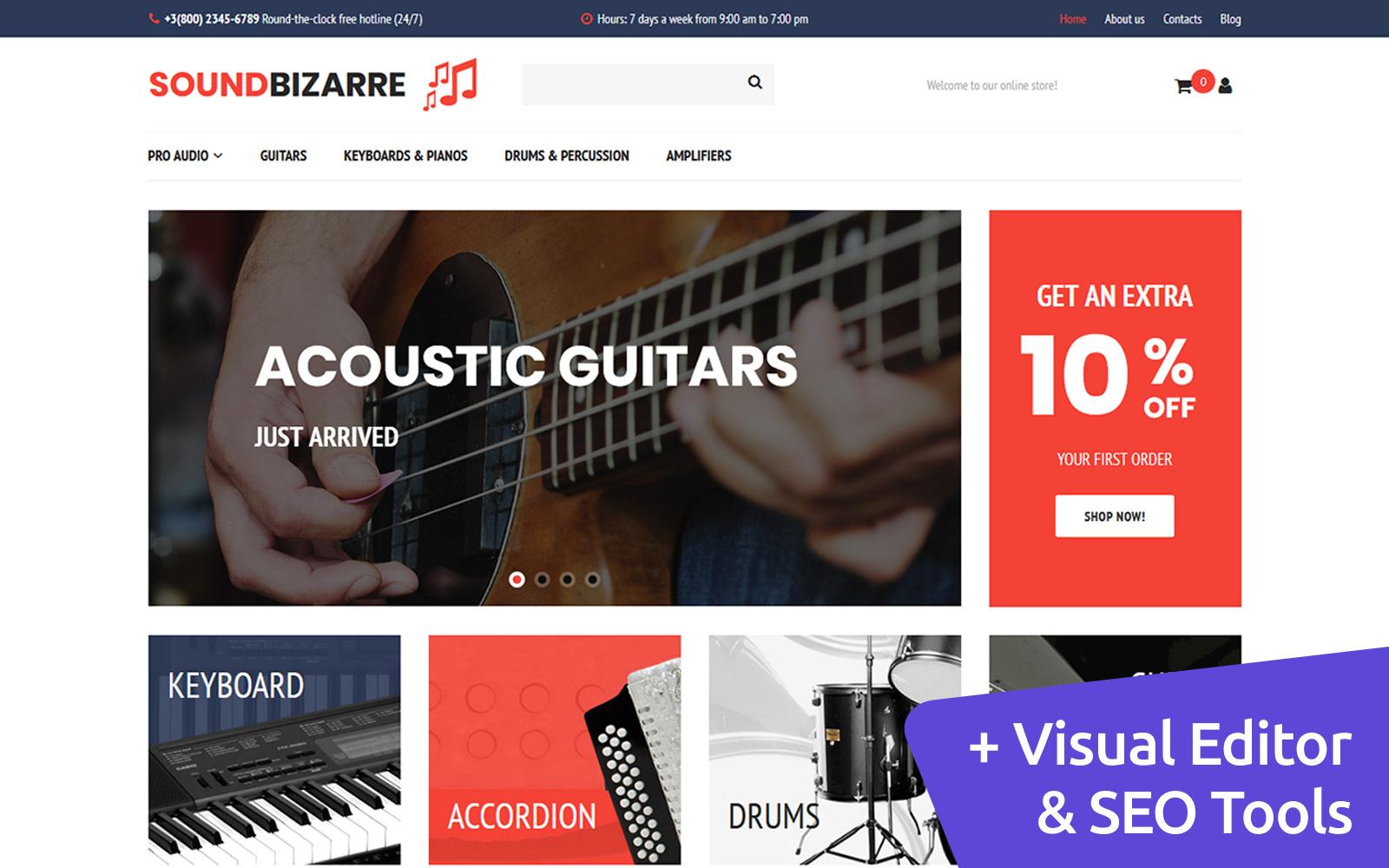 """Plantilla MotoCMS Para Comercio Electrónico """"SoundBizarre - Music"""" #65070"""
