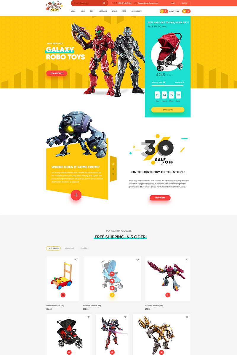 """Plantilla PSD """"Kids - Lovely design for Baby Fashion and Stores"""" #65006"""