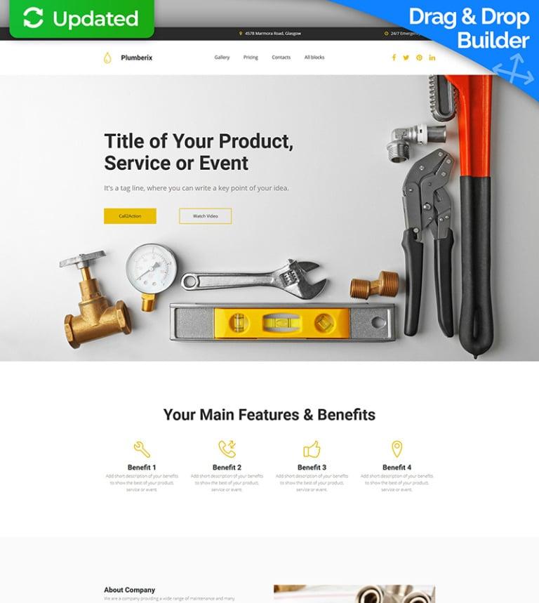Plumberix - Plumbing MotoCMS 3 Landing Page Template