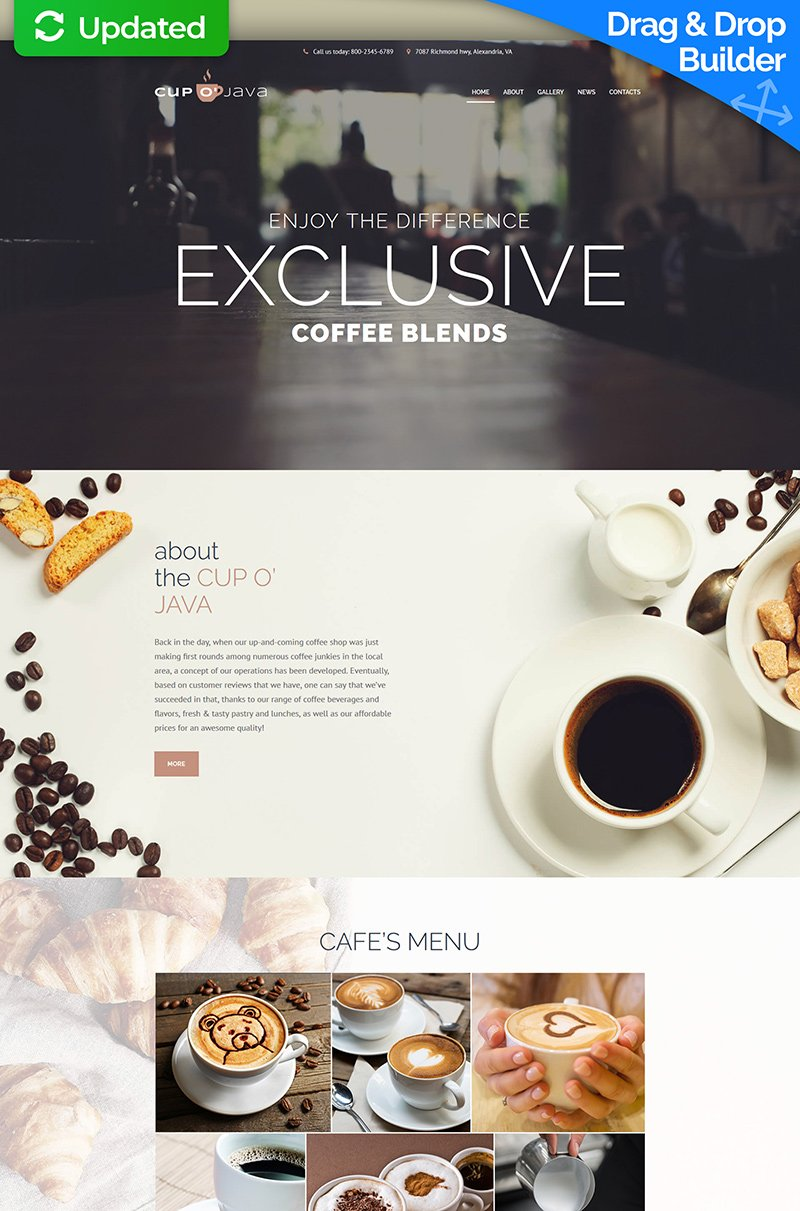 Responsive Moto CMS 3 Template over Koffiebar №65087
