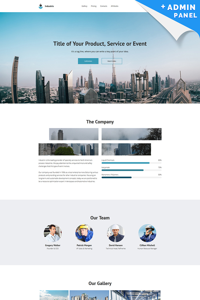 Landing Page Template #65027 für Industrie