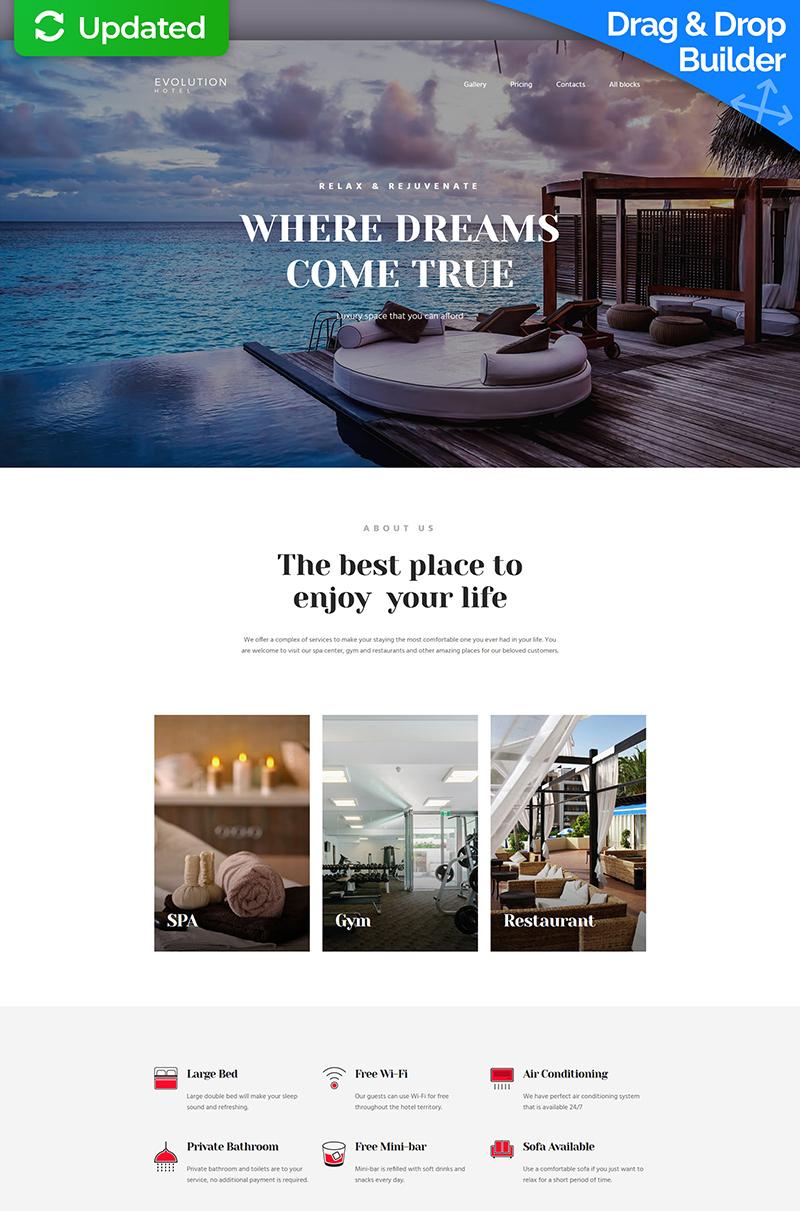 Responsivt Evolution - Hotel MotoCMS 3 Landing Page-mall #65036 - skärmbild