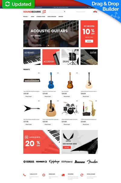 Responsywny ecommerce szablon MotoCMS #65070 na temat: sklep muzyczny