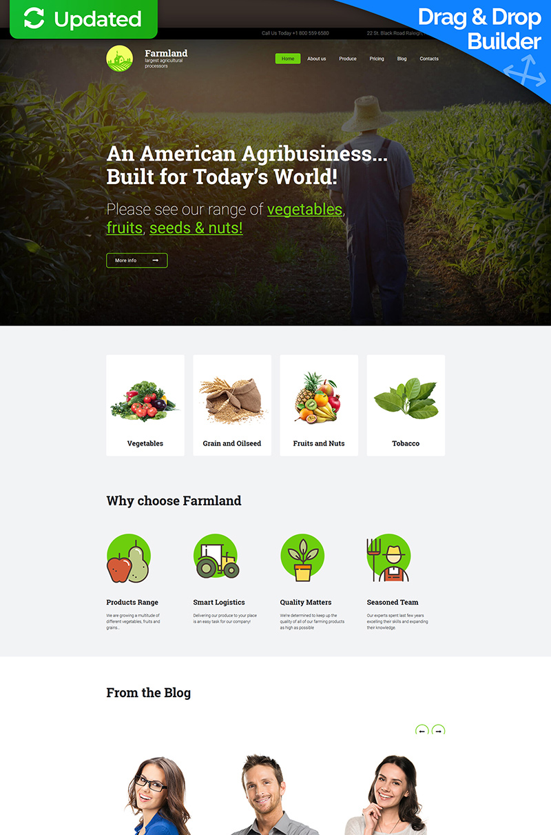 Responsywny szablon Moto CMS 3 #65073 na temat: rolnictwo - zrzut ekranu