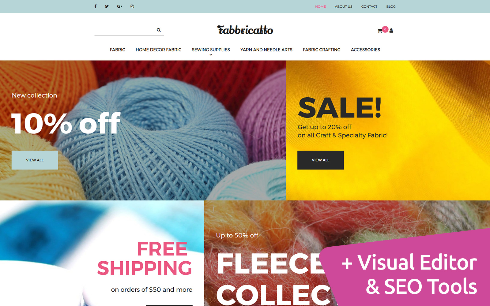 "Responzivní MotoCMS Ecommerce šablona ""Fabricatto -  Hobbies & Crafts"" #65068"