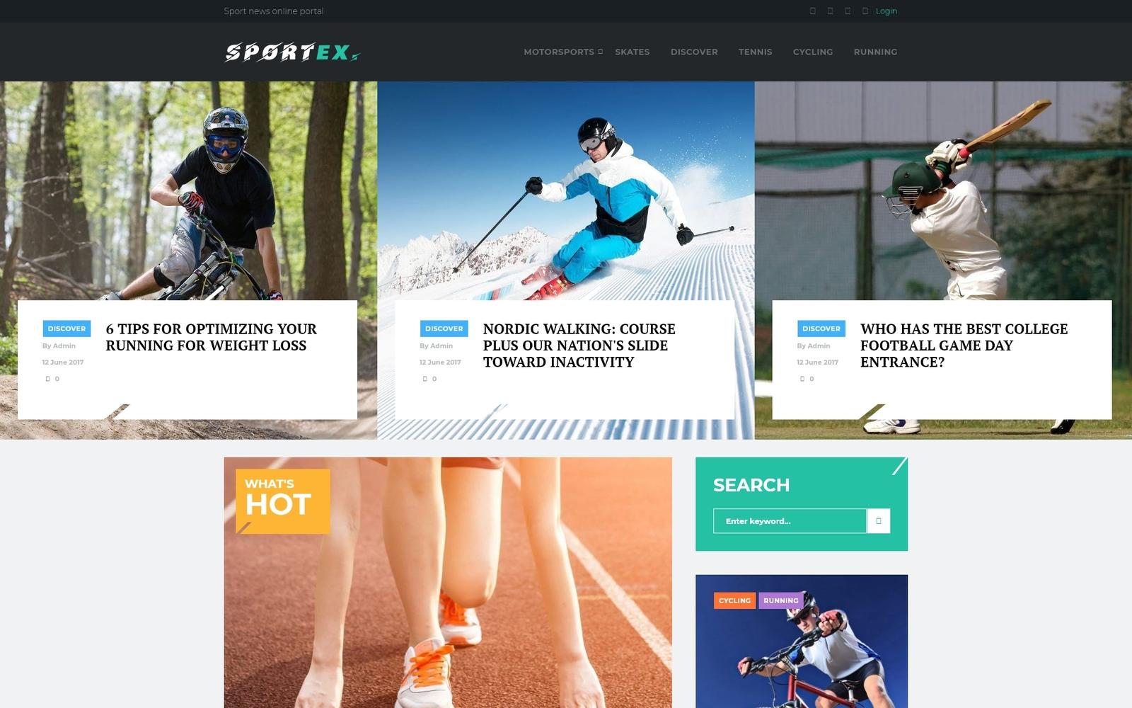 Reszponzív Sportex - Sports News Responsive WordPress theme WordPress sablon 65044