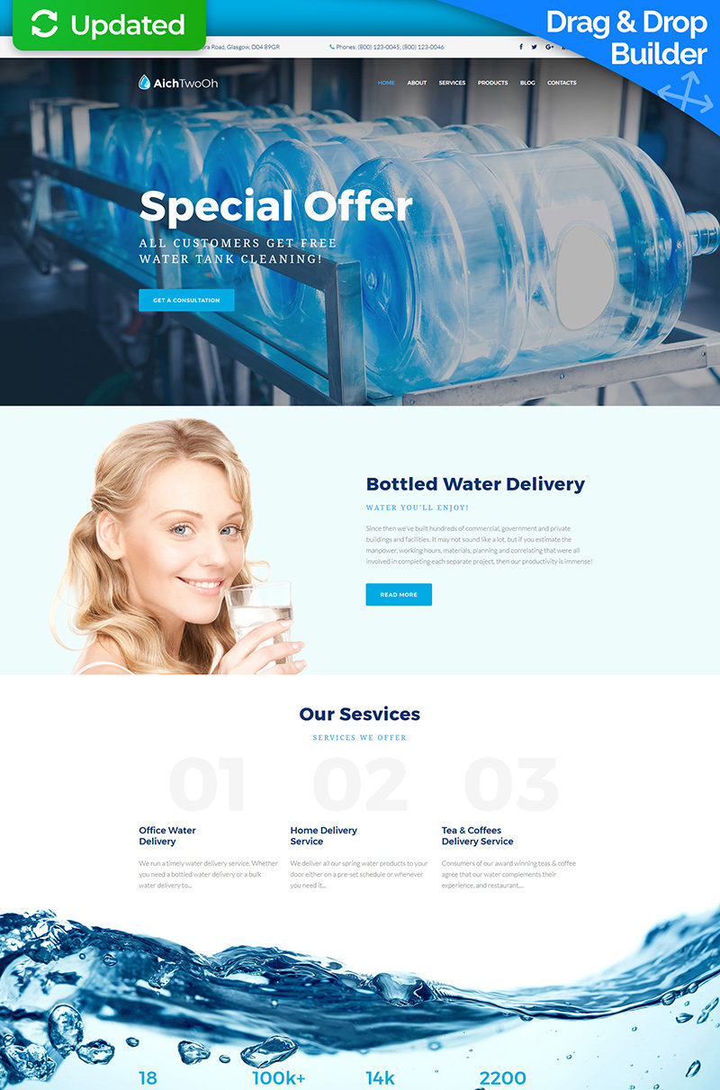 """Tema Moto CMS 3 Responsive #65076 """"Water Delivery Service"""" - screenshot"""
