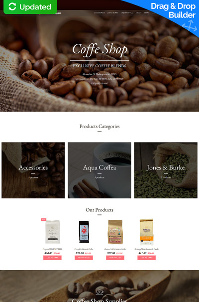Coffee Shop Responsive Tema MotoCMS E-commerce
