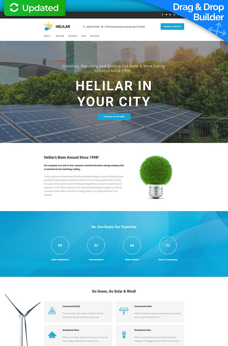 Templates Moto CMS 3 Flexível para Sites de Energia Solar №65082