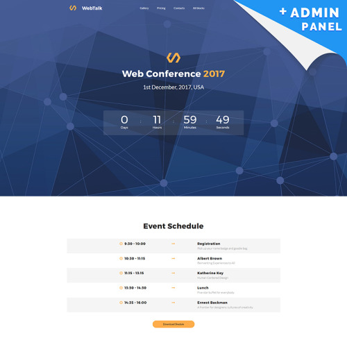 Web Talk - Conference MotoCMS 3 - Landing Page Template based on Bootstrap