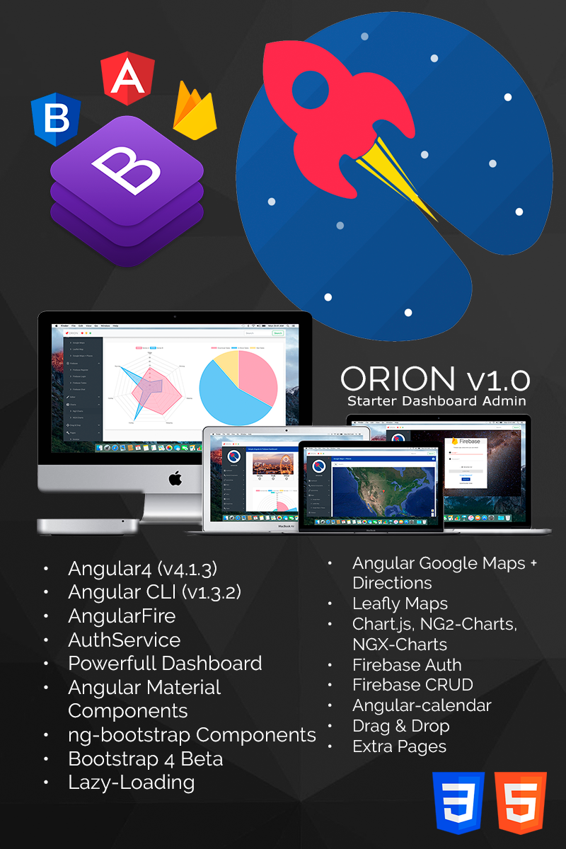 Template 65102 : ORION Simple Angular 4, Bootstrap 4