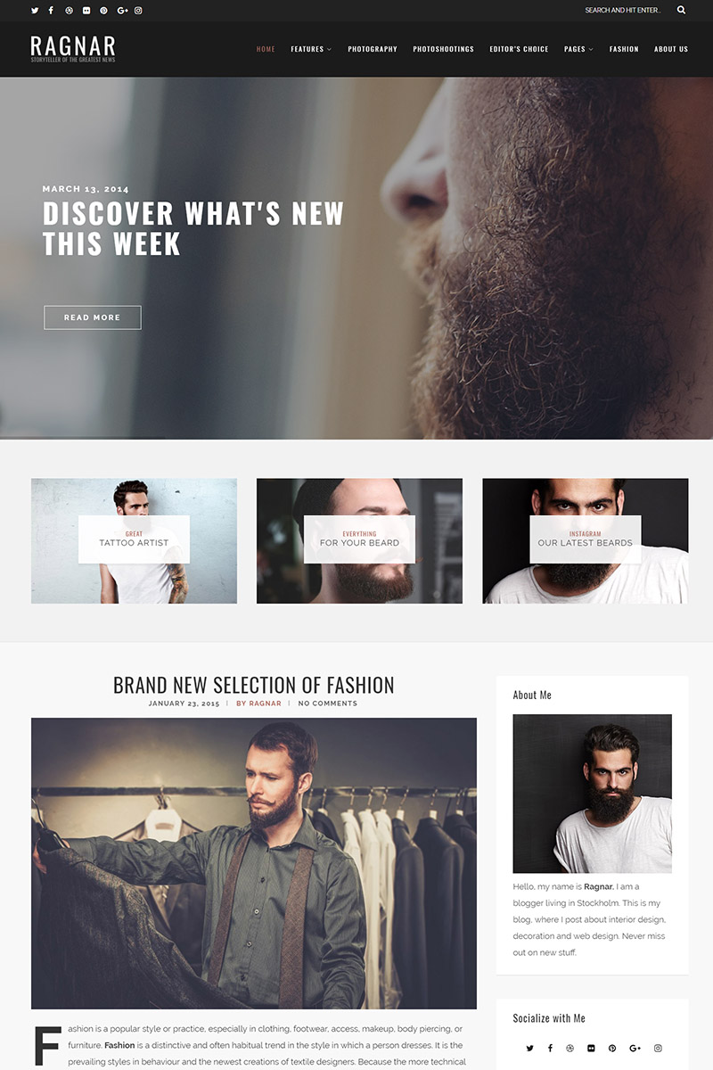 Website Design Template 65111 - clean creative fashion food hipster instagram lifestyle minimal personal photography travel wordpress essential grid masonry sidebar fullwidth