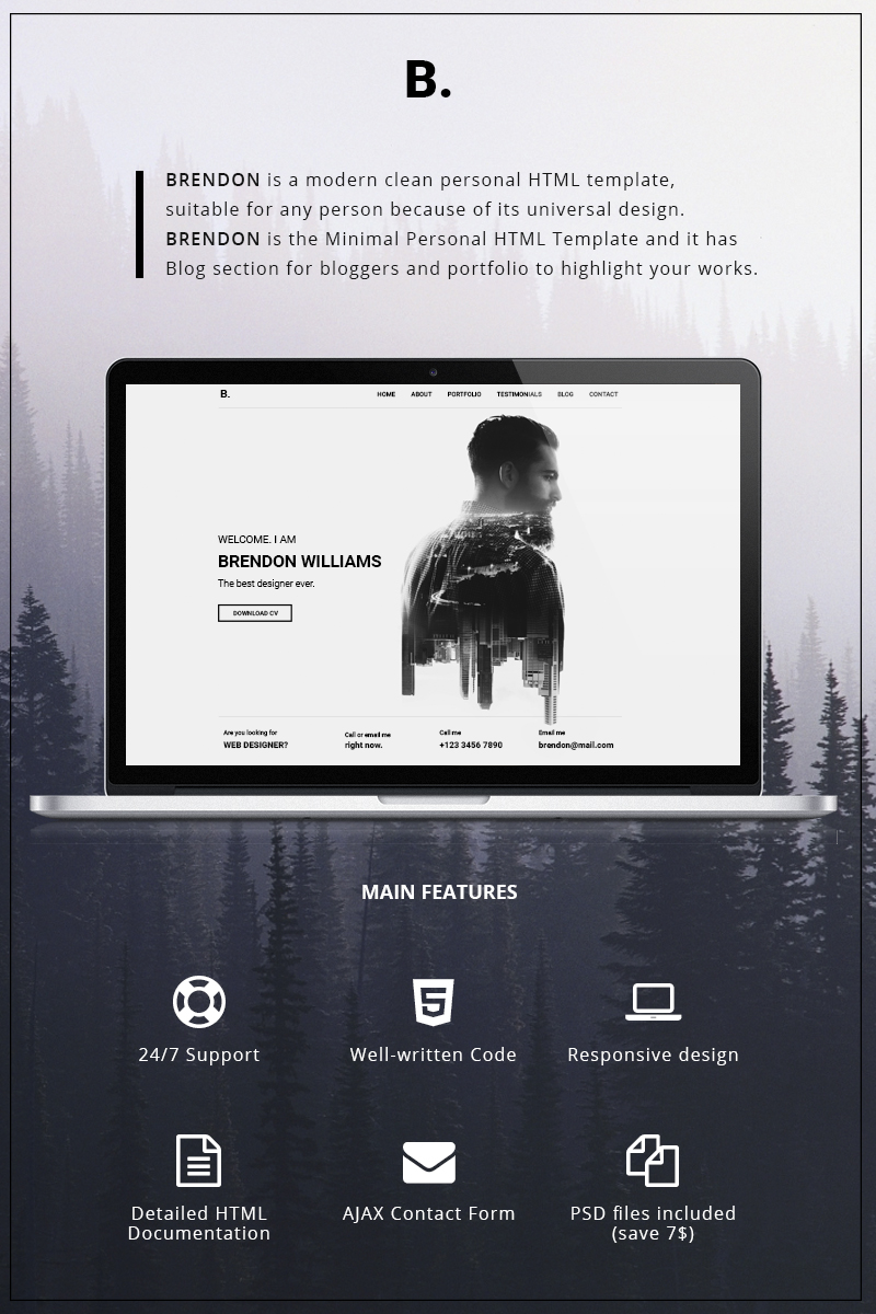"""Brendon - Minimal Personal Portfolio"" - адаптивний Шаблон сайту №65147"