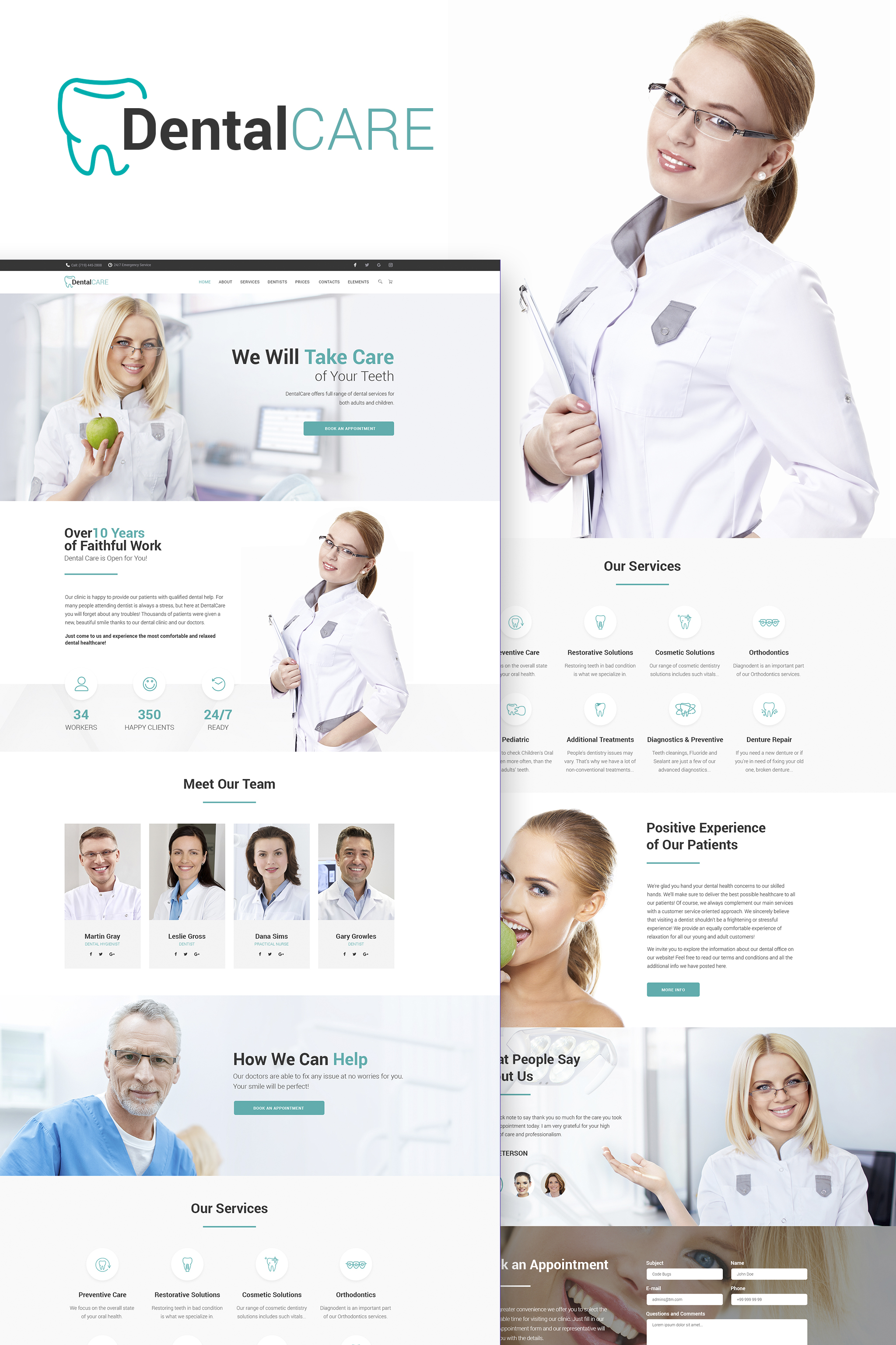 """DentalCare - Dental Clinic WordPress Theme"" 响应式WordPress模板 #65156"