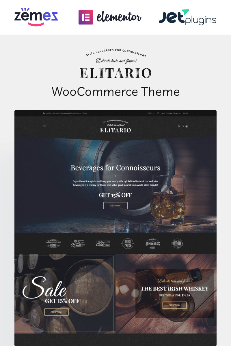 """Elitario - Liquor Store WooCommerce Theme"" - адаптивний WooCommerce шаблон №65108"