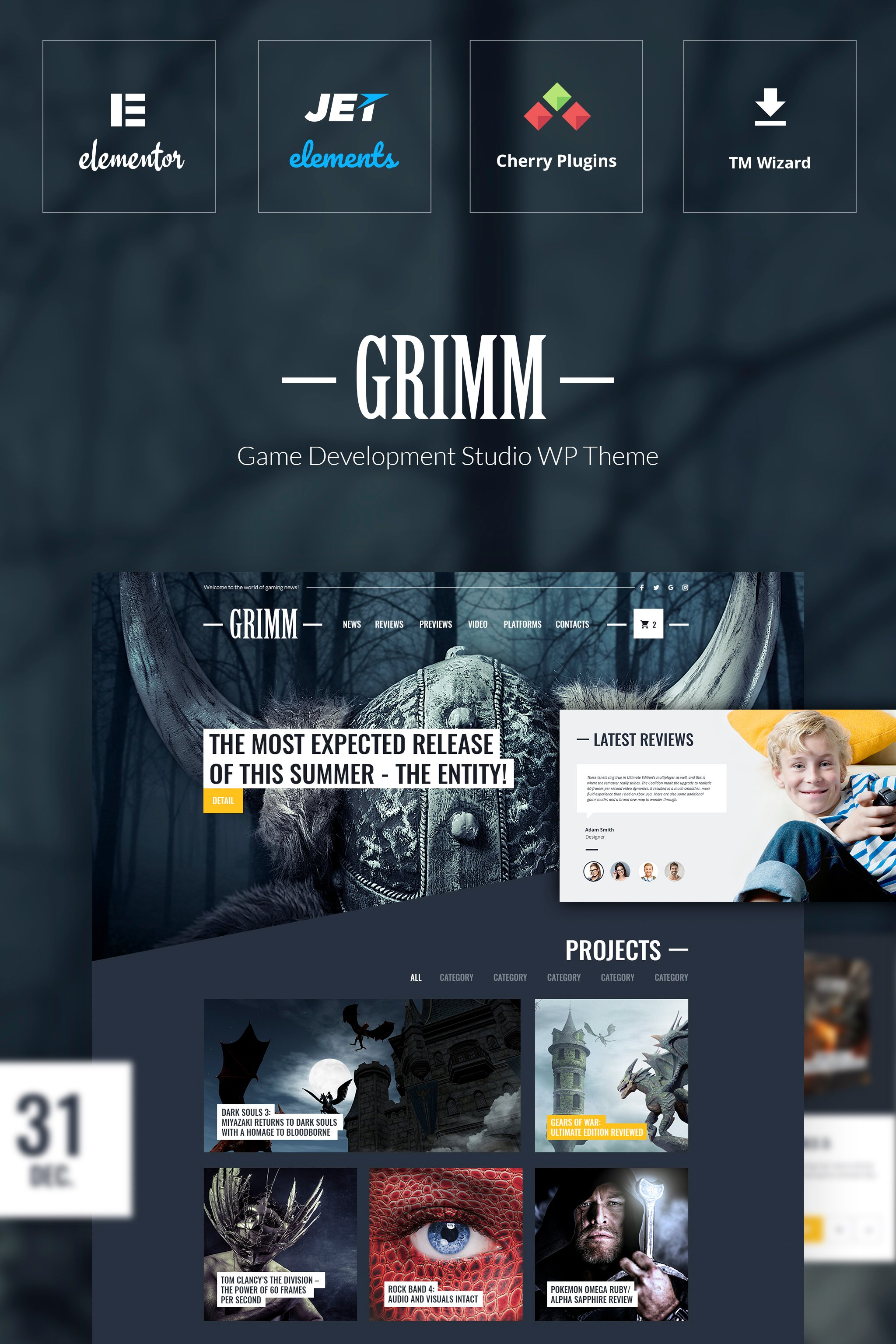 """GRIMM - Game Development Studio WordPress Theme"" - адаптивний WordPress шаблон №65114"