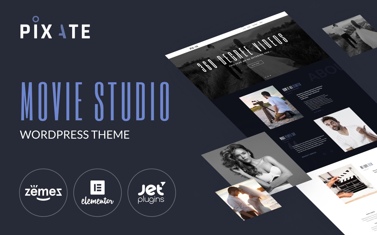 "Modello WordPress Responsive #65159 ""Pixate - Movie Studio WordPress Theme"""