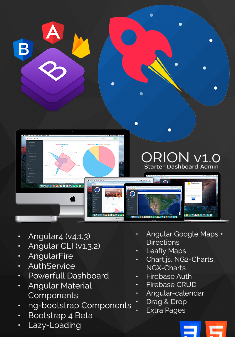 ORION - Simple Angular 4 and Bootstrap 4 Admin Dashboard Template
