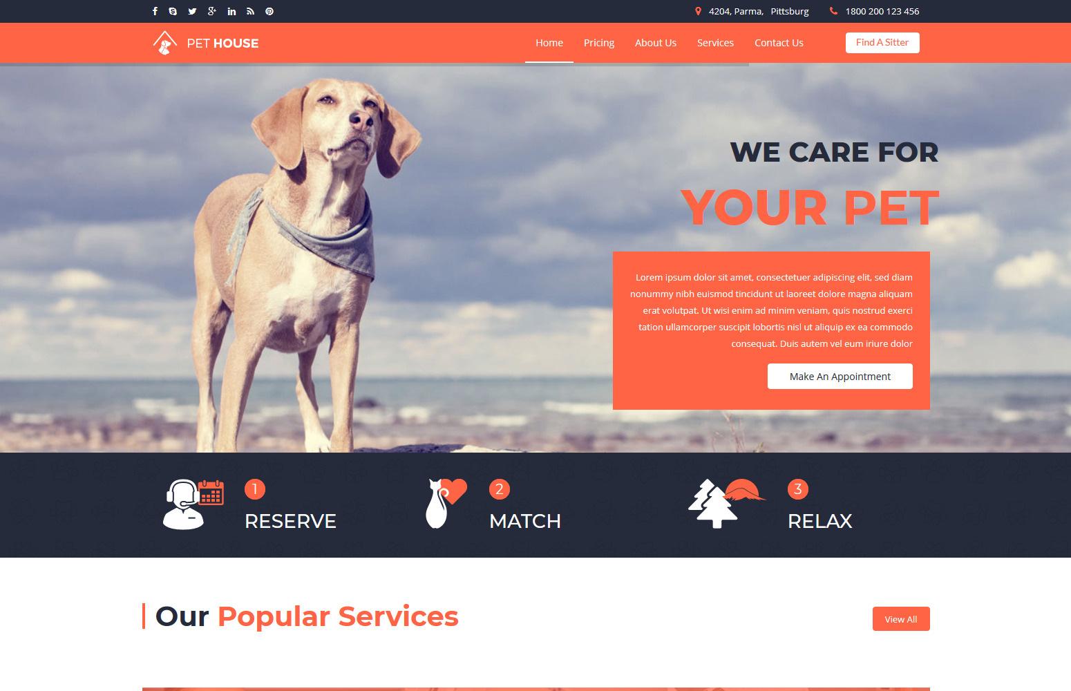 """""""Pet House - Pet Care Service"""" Responsive Joomla Template №65138"""