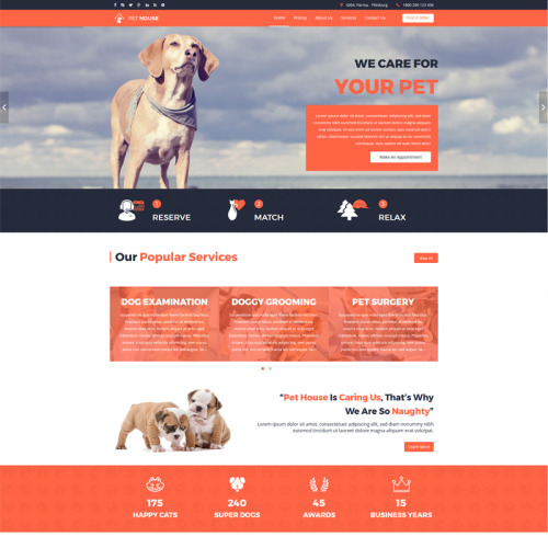 Pet House - Pet Care Service Template - Joomla! Template based on Bootstrap